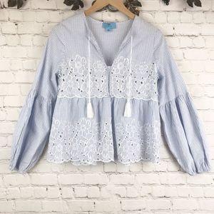 CeCe Blue & White Blouse